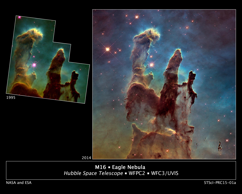 Sloupy stvoření po téměř dvaceti letech. Původní slavní snímek z Hubblova vesmírného teleskopu zroku 1995 a novější, mnohem přesnější zroku 2014. Kredit: NASA/ESA/Hubble Heritage Team (STScI/AURA)/J. Hester, P. Scowen (Arizona State U.)