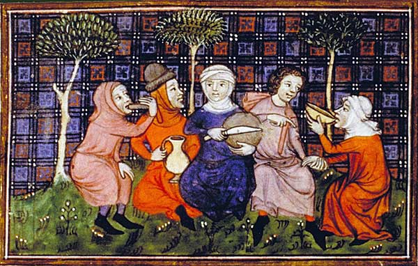 Ve 14 století musel rolníkům stačit chléb a něco k pití.  Kredit  (Biblioth?que nationale)