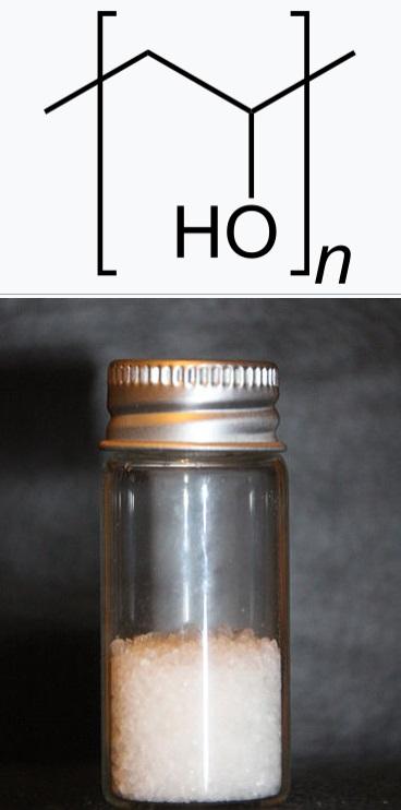 Polyvinylalkohol (PVA), nebo také PVOH, případněPVAL.  Aby umělá chrupavka oplývala pružností, je třeba aby obsahovala polyvinylalkohol shopný vázat vodu. Pokud se jeho molekuly navážou na aramidová vlákna pomocí vodíkových vazeb, získá výsledný pro