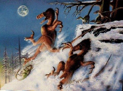 NevĂme jistÄ›, zda se utahraptoĹ™i a jejich teropodĂ příbuznĂ v obdobĂ spodnĂ křídy rádi klouzali po snÄ›hu, jistĂ© ale je, Ĺľe MÄ›sĂc tehdy na obloze nevypadal vĂ˝raznÄ› vÄ›tší neĹľ dnes. Kredit: Luis V. Rey (ilustrace ke knize ÄŚervenĂ