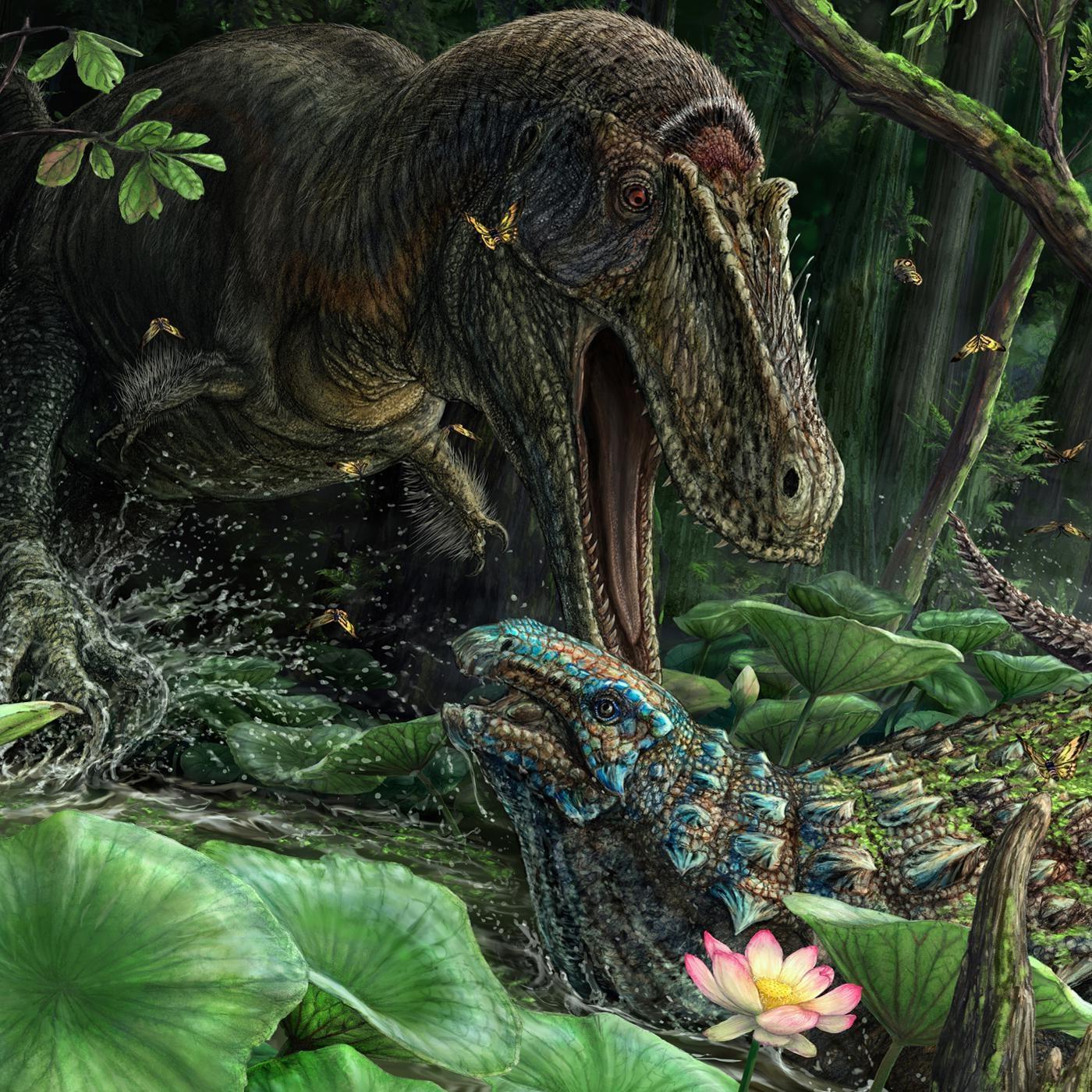 Rekonstrukce pravděpodobného vzezření druhu Dynamoterror dynastes a jeho možné občasné kořisti v podobě nodosaurida druhu Invictarx zephyri. Životní prostředí těchto dinosaurů mělo před 78 miliony let podobu vlhkých močálovitých nížin. Kredit: Brian