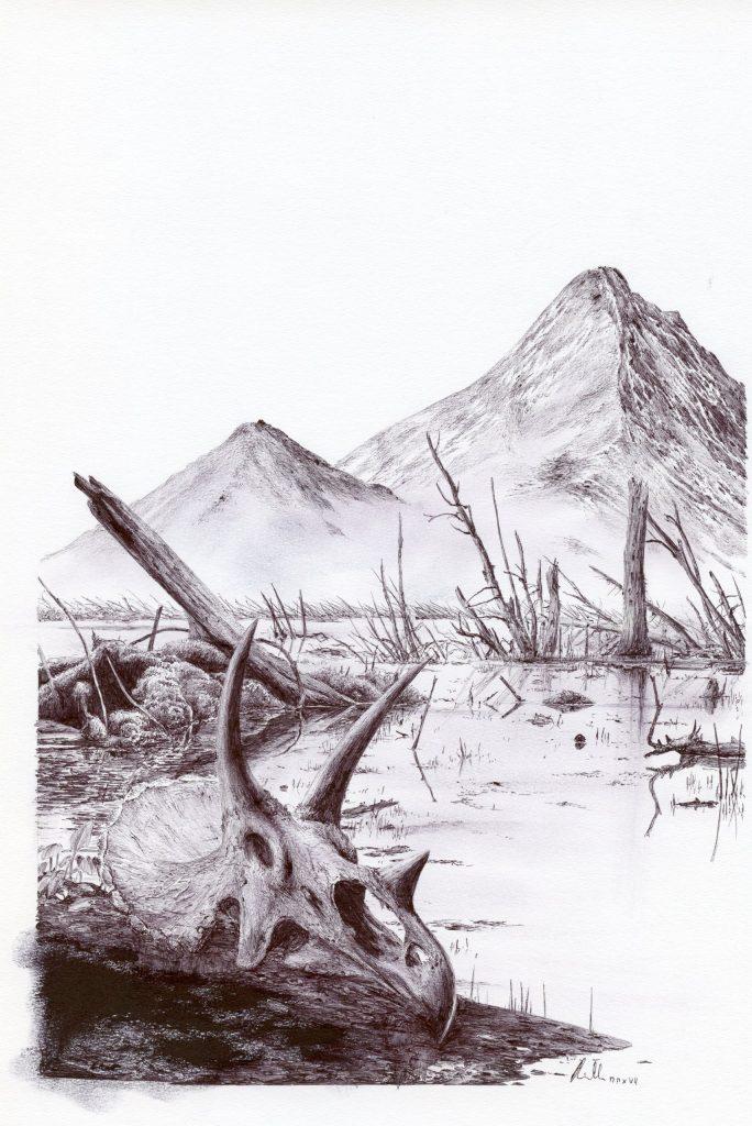 Přibližně tak nějak mohla vypadat typická oblast na území současné Montany a Jižní Dakoty, ve vzdálenosti zhruba 3500 kilometrů od epicentra dopadu, v řádu dní až týdnů po samotném impaktu. Postapokalyptická krajina posetá popelem, kamením, ohořelými