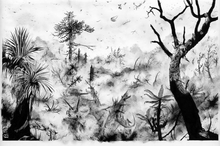 """Umělcova představa o podobě drastických následků dopadu planetky Chicxulub na území Laramidie (dnes západní část Severní Ameriky). Nebýt této katastrofické události z doby před 66 miliony lety, velcí """"neptačí"""" dinosauři by se pravděpodobně vyvíjeli ú"""
