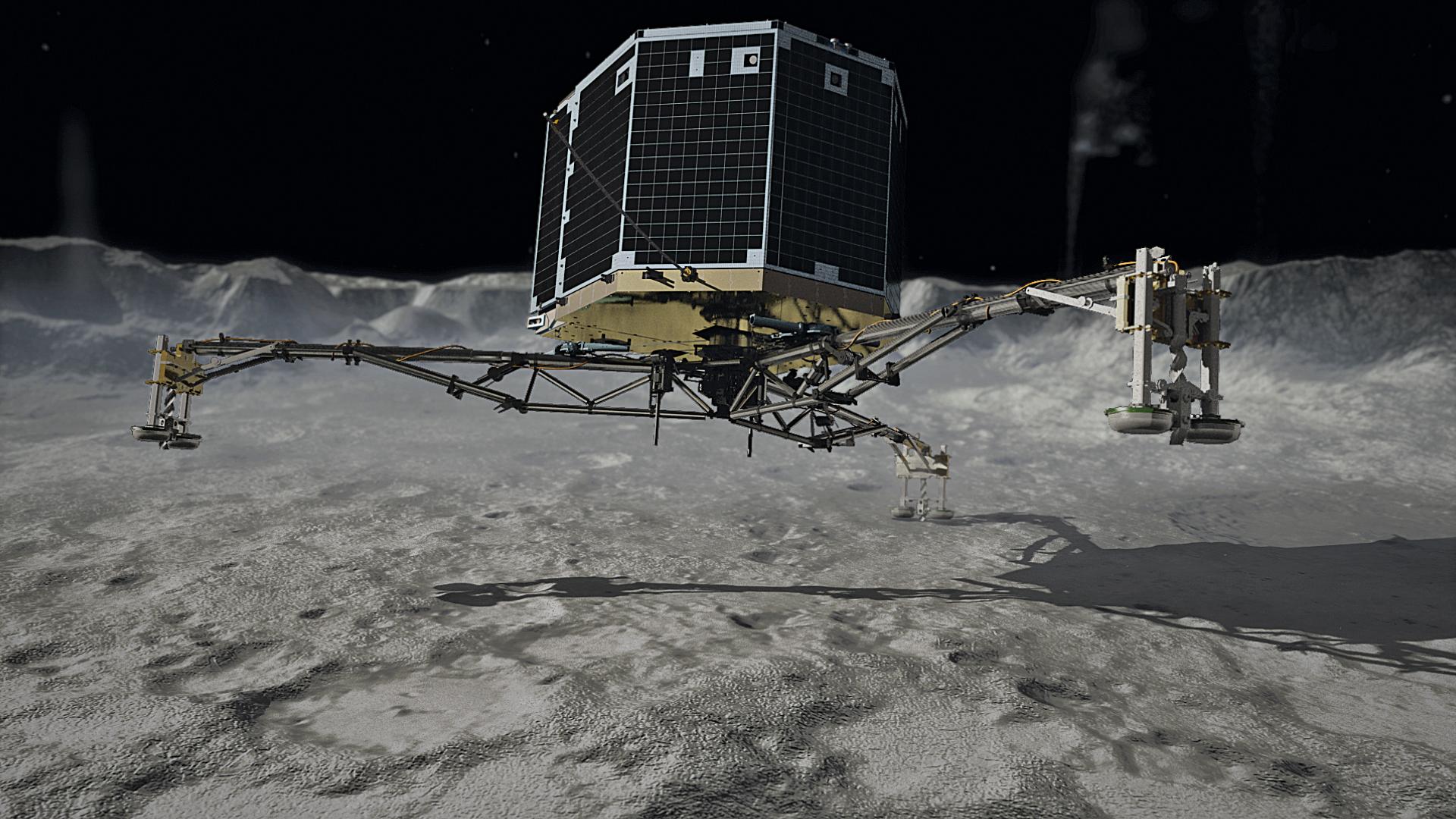 Pokud by modul Philae k přímému zkoumání kometárního jádra neselhal, mohly jsme mít poznatků o složení komety mnohem více.  (Kredit: DLR, ESA, CC-BY 3.0)