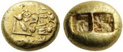 Lýdská mince z doby krátce před Xenofanem. Kredit: Wikimedia Commons.