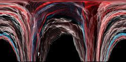 Gravitační vlny prosakují vesmírem. Kredit: Carl Knox, OzGrav/Swinburne University of Technology.