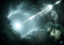 Aktivní galaktické jádro. Kredit: DESY, Science Communication Lab