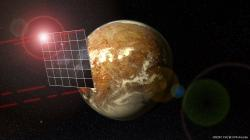 Umělecká vize lidské hvězdné plachetnice u Proximy Centauri. Kredit: PHL @ UPR Arecibo.