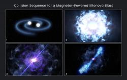 Zrození magnetaru po srážce neutronových hvězd. Kredit: NASA, ESA, and D. Player (STScI).