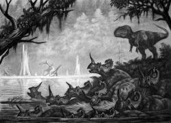 """Ekologická scéna, zobrazující utonutí mnoha centrosaurů při pokusu o přebrodění řeky. Podobným katastrofám nasvědčují četné objevy """"lůžek kostí"""" se stovkami kosterních exemplářů různých druhů rohatých dinosaurů. Život v období pozdní křídy tedy určitě nebyl snadný, a to ani pro mohutné stádní býložravce, jakými byli centrosauři. Kredit: ABelov2014; Wikipedie (CC BY 3.0)"""
