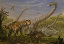 Přibližné složení dinosauří megafauny v ekosystémech, ve kterých žil také rod Mongolarachne. Vyskytovali se zde velcí sauropodi (Mamenchisaurus), teropodi (Yangchuanosaurus) i stegosauridi(Gigantspinosaurus, Tuojiangosaurus). Kredit: ABelov2014, Wikipedie (CC BY-SA 3.0)