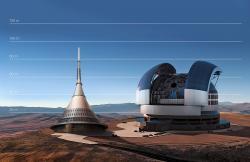 Teleskop ELT vporovnání svysílačem na Ještědu. Kredit: ESO.