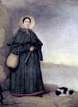 """Jeden z nejznámějších portrétů Mary Anningové, zobrazující tuto dámu při její nejoblíbenější činnosti – sběru jurských fosilií na pobřeží v Lyme Regis. Kredit: """"Mr. Grey"""", Sedgwick Museum; Wikipedie (volné dílo)."""