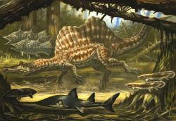 Mezi dinosaury, nejlépe vývojově přizpůsobené k životu ve vodním živlu, patřili zejména spinosauridi. Tito velcí teropodi pravděpodobně trávili velkou část svého života ve vodě a živili se převážně vodními tvory, jako jsou ryby, paryby, želvy nebo menší krokodýli. Na ilustraci je největší a nejpopulárnější zástupce čeledi, severoafrický Spinosaurus aegyptiacus. Kredit: ABelov2014; Wikipedie (CC BY 3.0)