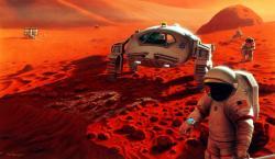 NASA na Marsu. Kredit: NASA/Pat Rawlings, SAIC.