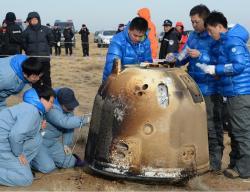 Návratový modul pro dopravu vzorků z Měsíce byl testován v rámci mise Čchang-e 5T (zdroj NFCC, Wiki, CASC).