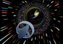 Umělecká představa, jak by mohl vypadat hvězdolet na warpový pohon Alcubierriho (zdroj NASA).