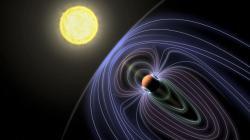 Pekelný jupiter Tau Boötis Ab se svým magnetickým polem. Kredit: Jack Madden/Cornell University.