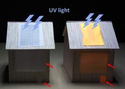 Světélkující dřevěný film. Kredit: Fu et al. (2020), ACS Nano.