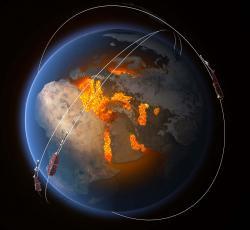Evropské sondy Swarm. Kredit: ESA/ATG Medialab.