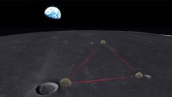 Gravitační observatoř na Měsíci. Kredit: Karan Jani.