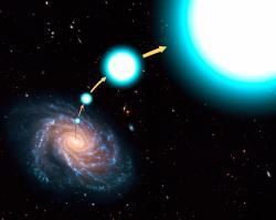 Hvězda vystřelená zMléčné dráhy, i když nikoliv relativisticky. Kredit: NASA, ESA, and G. Bacon (STScI).