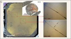 AM-III a škrábance na přírodním diamantu. Kredit: Zhang et al. (2021).