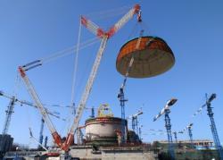 Dokončení kopule bloku Hualong One (HPR1000) Fu-čching 6 (zdroj CNI23).