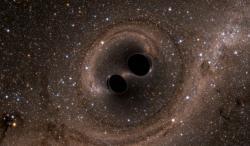 Dvojice černých děr spěje ke splynutí (zdroj SXS/LIGO).