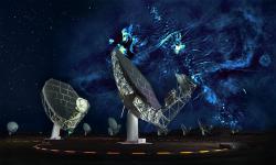 Radioteleskopy soustavy MeerKAT srádiovou Mléčnou dráhou. Kredit: SARAO/Oxford/NRAO.
