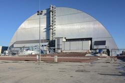Nový sarkofág byl již oficiálně zprovozněn (zdroj Černobylská jaderná elektrárna).