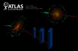 Rozpad higgse na foton (světle zelená) a pár mion a antimion vznikající z Dalitzova rozpadu (dvě červené linky), (zdroj CERN).