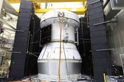 Test servisního modulu pro let Artemis 1 dne 22. května 2019 (zdroj NASA).