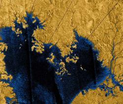 Uhlovodíková  jezera na Titanu. Kredit: NASA, Martian Chronicles.