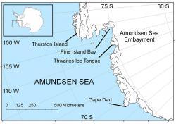 """Amundsenovo moře a oblast označovaná jako """"ASE"""" (Amundsen Sea Embayment). Autor: Polargeo, veřejná doména."""