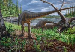 Rekonstrukce možné podoby ekosystémů, obývaných timimem. Zobrazený druh dinosaura je ornitopod Diluvicursor pickeringi, formálně popsaný v letošním roce. Ten se mohl spolu s několika dalšími známými ptakopánvými dinosaury ze souvrství Eumeralla stávat častou kořistí australského tyranosauroida. Kredit: P. Trusler (in Herne, M. C. et al., 2018); Wikipedie (CC BY 4.0)