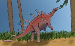 Adratiklit byl paradoxně blíže příbuzný evropským stegosaurům než stegosaurům africkým. Jedním ze dvou dosud známých afrických druhů byl také populární Kentrosaurus aethiopicus, pozdně jurský druh z Tanzanie, popsaný již roku 1915. Podle některých výzkumů se tento menší stegosaurid dokázal postavit na zadní a dosáhnout tak na listnatou potravu až ve výšce 3,3 metru nad zemí. Kredit: Foolp; Wikipedie (CC BY-SA 4.0)