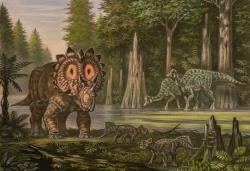 Ekologická scéna z doby před 68 miliony let, kdy na území kanadské Alberty žily početné populace kachnozobých dinosaurů (jako jsou zobrazení hypakrosauři v pozadí), i rohatých dinosaurů (jako je regaliceratops a dva malí leptoceratopsové v popředí obrázku). Kredit: ABelov 2014, Wikipedie (CC BY 3.0)