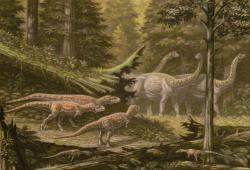 """Ekologická scenérie z období pozdní křídy na území současné argentinské Patagonie. V popředí trojice abelisauridních teropodů druhu Quilmesaurus curriei (kteří mohli a nemuseli být přímými současníky saltasaurů), menší teropodi dole jsou zástupci druhu Noasaurus leali. V pozadí pochoduje obezřetné stádo """"obrněných"""" sauropodů saltasaurů. Kredit: ABelov2014; Wikipedie (CC BY 3.0)"""