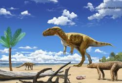 Rekonstrukce vzezření a přibližné podoby ekosystému teropoda druhu Saltriovenator zanellai, žijícího v době před 199 až 197 miliony let (nejranější spodní jura) na území dnešní severní Itálie. Fosilie byly objeveny již v roce 1996, tento ceratosauridní teropod byl ale formálně popsán až na sklonku loňského roku a stal se tak jedním ze dvou oficiálně popsaných nových druhů dinosaurů z Evropy. Kredit: Lucas Attwell, Wikipedia (CC BY-SA 3.0)