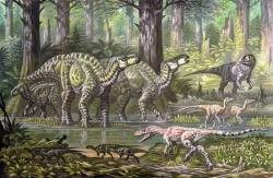 """Ekologická scéna ze souvrství Wessex, jíž v popředí vpravo dominuje právě lovící eotyranus. Kromě jeho kořisti v podobě rychlonohých hypsilofodontů se zde vyskytují také velcí iguanodontní ornitopodi, teropod Neovenator a párek """"pštrosích"""" ornitomimosaurů. Kredit: ABelov2014, Wikipedie (CC BY-SA 3.0)"""