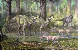 Ekologická scéna s iguanodony a jejich současníky v rámci ekosystému souvrství Wessex. Kromě velkých ornitopodů jsou zde zobrazeni také teropodi Eotyrannus lengi (v popředí), Neovenator salerii (v pozadí), blíže neurčení ornitomimoidní teropodi a konečně i malí ptakopánví hypsilofodonti (v popředí před eoraptorem). Kredit: ABelov2014; Wikipedie (CC BY-SA 3.0)