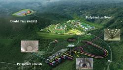 Letecký záběr se schématem úložiště pro nízko a středně aktivní odpad organizace KORAD (zdroj KORAD).
