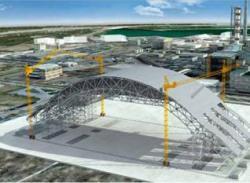 12Představa o tom, jak se bude stavět nový kryt zničeného bloku Černobylské jaderné elektrárny (zdroj Materiály Evropské banky pro rekonstrukci a rozvoj).
