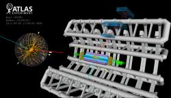 Schéma rozpadu W bosonu produkovaného na LHC pozorovaného pomocí detektorového systému ATLAS (zdroj CERN).