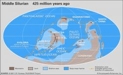 Mapa světa v době zvané Silur. Kredit: C.R. Scotese, The University of Texas at Arlington. https://www.britannica.com/media/full/544696/146749