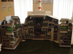 Model zničeného bloku vevstupní budově kprostorám u čtvrtého bloku.