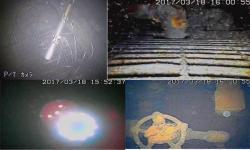 Záběry z průzkumu prvního bloku v březnu 2017. Vlevo nahoře je pohled na robota, který se právě dostal z potrubí do kontejnmentu. Napřed se podíval na roštovou podlahu, dole vlevo je záběr pořízený těsně předtím, než se sonda vnořila do vody. Vpravo dole je pak záběr toho, co viděla sonda na dně po ponoření do vody (zdroj TEPCO).