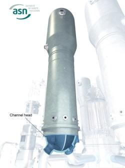 Spodní část parogenerátoru, která by mohla být s oceli s vyšším obsahem uhlíku (zdroj ASN).
