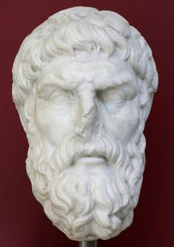 Epikúros, římská kopie řeckého portrétu z konce 3. století před n. l. Kredit: Wikimedia Commons.
